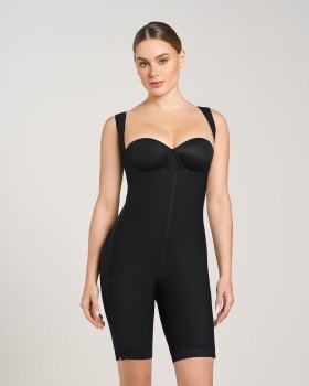 waist-to-knee open bust firm post-surgical body shaper-700- Black-MainImage