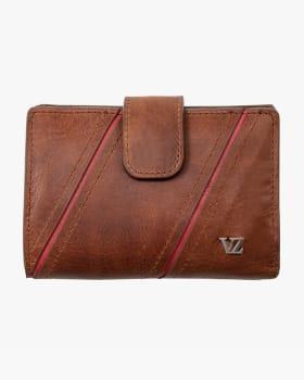 billetera femenina con cortes diagonales y cierre - velez-802- Café Claro-MainImage