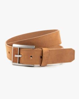 cinturon unifaz masculino diseno en hebilla con pieza de cuero - velez-802- Café Claro-MainImage