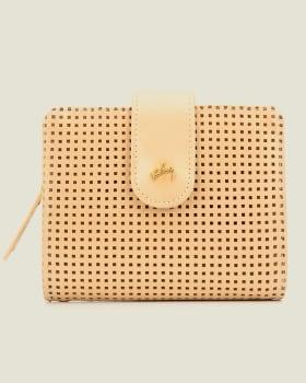 billetera femenina con chapeta en cuero liso - velez-127- Dorado-MainImage