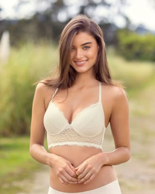 cross back lace bralette with moderate push up--MainImage