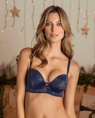 brasier wow de triple realce ideal como strapless-479- Azul Flor-MainImage