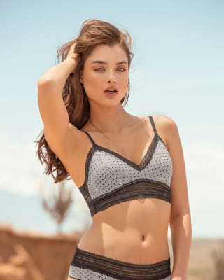 comfy cotton blend lace trim wireless bralette--MainImage