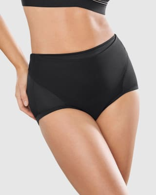 firm compression postpartum panty with adjustable belly wrap-700- Black-MainImage