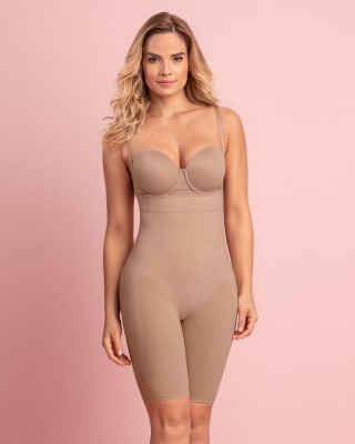 seamless high waist shapewear with thigh compression-802- Nude-MainImage