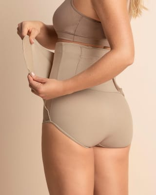high-waisted firm compression postpartum panty with adjustable belly wrap--MainImage