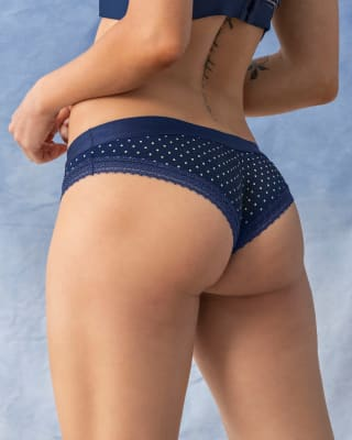 extra soft cheeky lace hipster panty-059- Azul Puntos-MainImage
