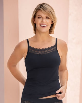 pocketed bra top mastectomy cami - lace removable padding-700- Black-MainImage