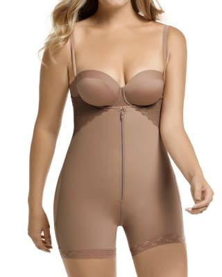 strapless lacy firm compression bodysuit shaping short with bum lifter-857- Brown-MainImage