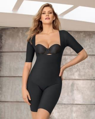 undetectable open bust shorty shaper jumpsuit-700- Black-MainImage