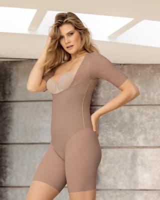 undetectable open bust shorty shaper jumpsuit-857- Brown-MainImage