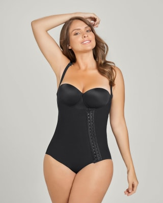 classic bottom post-surgical firm body shaper - diagonal hook-and-eye-700- Black-MainImage