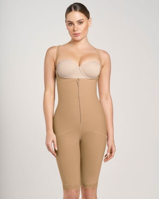 knee-length body shaper with firm compression--MainImage