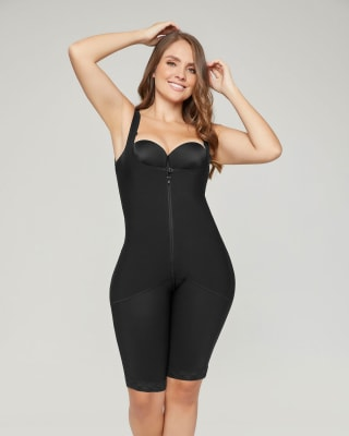 post-surgical firm body and thigh shaper  wide straps-700- Black-MainImage