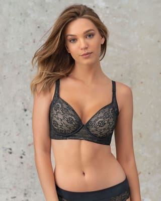 lace back smoothing bra with soft full coverage cups--MainImage