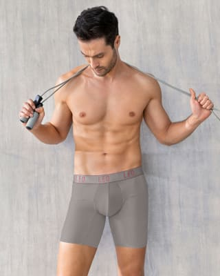 leo superior fit microfiber long boxer brief-750- Gris Plata-MainImage