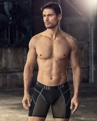 leo sport boxer shorts mit atmungsaktivem netz-074- Black-MainImage