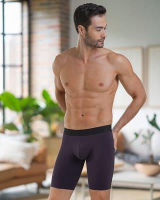 boxer largo con elastico en contraste de color-450- Morado Oscuro-MainImage