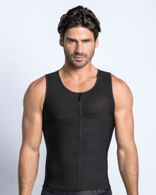 mens firm body shaper vest with back support - maxforce-700- Black-MainImage