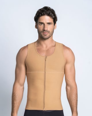 mens firm body shaper vest with back support - maxforce-864- Nude-MainImage
