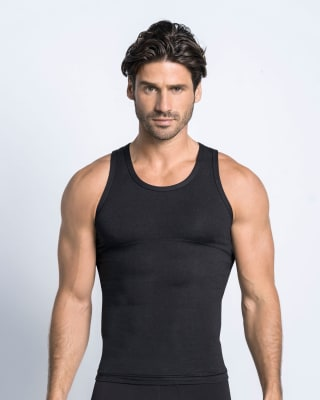 stretch cotton moderate compression tank-700- Black-MainImage