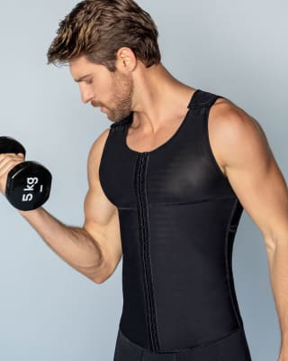 post-surgical firm compression shaper vest for men - front hook-and-eye closure-700- Black-MainImage