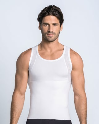 stretch cotton moderate compression shaper tank-000- White-MainImage