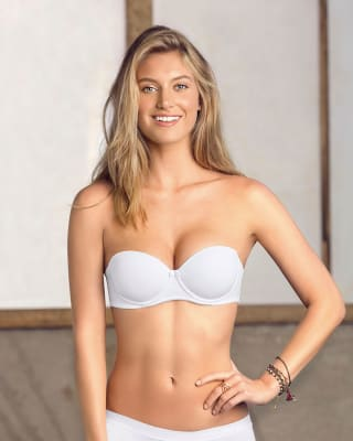 strapless demi balconette push up bra-000- White-MainImage