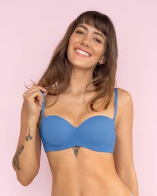 strapless demi balconette push up bra-418- Azul Medio-MainImage