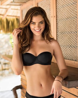strapless demi balconette push up bra-700- black-MainImage