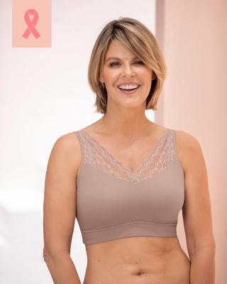 pocketed mastectomy bra  wireless lace removable padding-281- Pink-MainImage