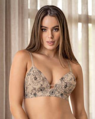 sujetador de escote profundo con push-up suave sin aro - perfect comfort bra-167- Nude Estampado Floral-ImagenPrincipal