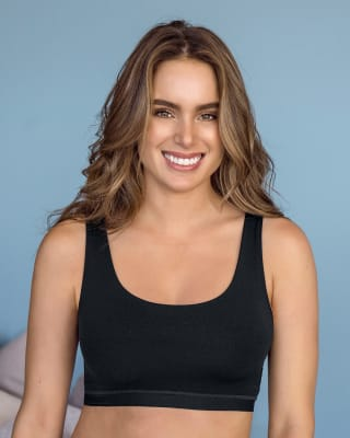 one-size-fits-all pullover bra pocket bra-700- Black-MainImage