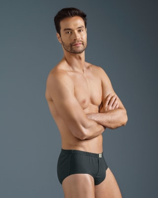 mens open fly cotton classic brief-700- Black-MainImage