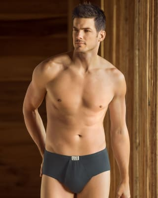mens open fly cotton classic brief-795- Gray-MainImage