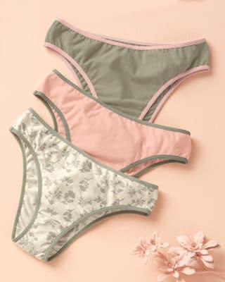 paquete x 3 tangas de algodon con refuerzo en abdomen-S22- Arena / Rosado / Estampado-MainImage