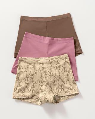3 boxers con excelente cubrimiento de cadera y abdomen-S23- Rosa / Café / Estampado-ImagenPrincipal