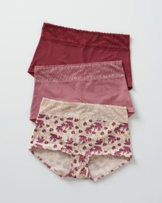 3-pack high-coverage lace trim boyshort panties--MainImage