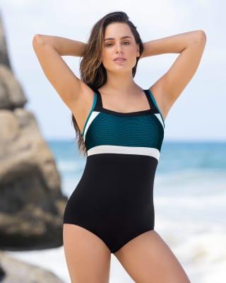 vestido de bano deportivo con control suave de abdomen ideal para actividades acuaticas-700- Negro-MainImage