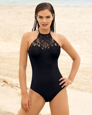 vestido de bano entero high neck con bordado-700- Black-MainImage