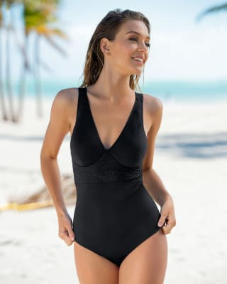 lace accent slimming one-piece swimsuit-700- Black-MainImage