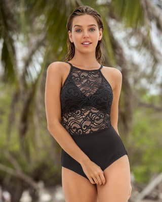 lace high-neck one-piece swimsuit--MainImage