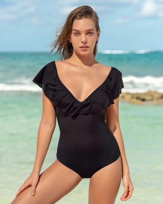 ruffle top slimming one-piece swimsuit-700- Black-MainImage