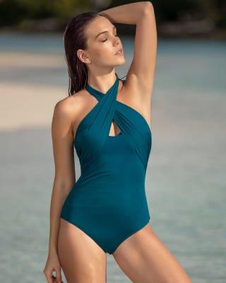 one-piece cross top firm compression swimsuit-563- Dark Blue-MainImage