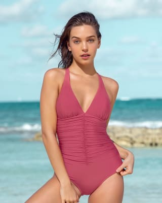 increible vestido de bano entero con drapeado y control fuerte de abdomen--MainImage