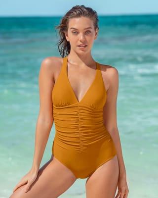 increible vestido de bano de una pieza con drapeado y control fuerte en abdomen-101- Light Mustard-MainImage