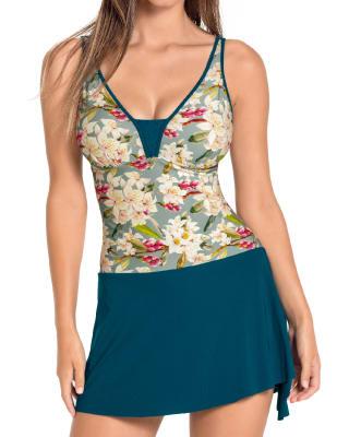 increible vestido de bano de una pieza con falda multiusos-656-Leaves and Flowers-MainImage