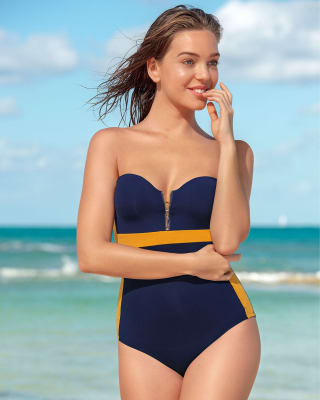 firm compression one-piece front zip underwire swimsuit-515- Blue-MainImage