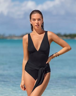 one-piece plunge recycled slimming swimsuit - two-way tie sash-700- Black-MainImage