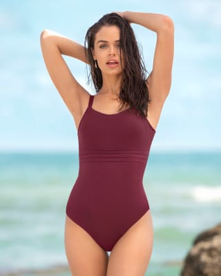 one-piece slimming scoop swimsuit-220- Wine-MainImage